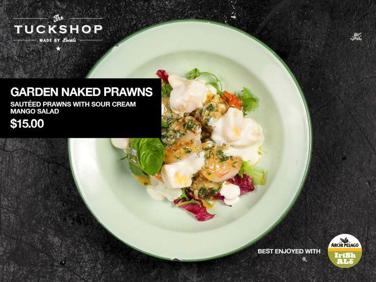 Garden Naked Prawns Sautéed Prawns with Sour Cream Mango Salad