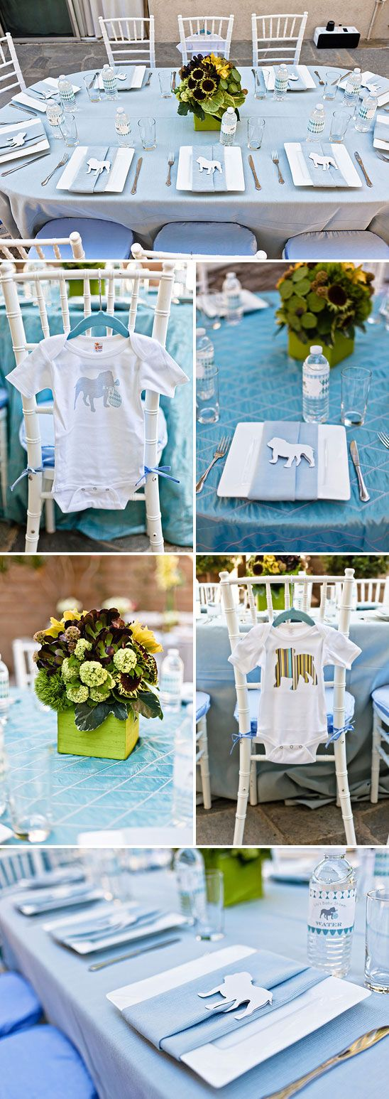 English Bulldog Themed Baby Shower.... giving me ideas for a Cavoodle themed party!