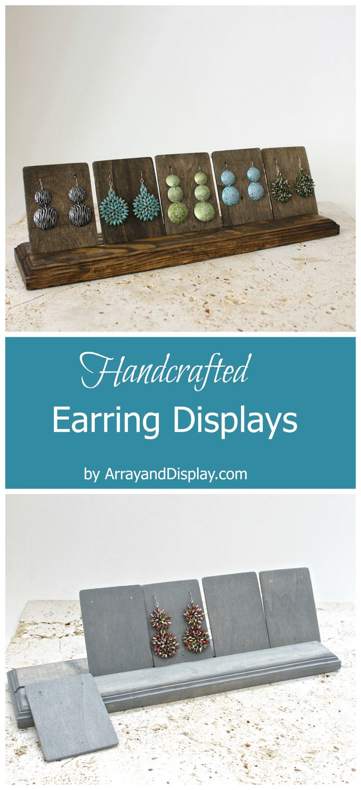 Handcrafted jewelry displays made of locally sourced new and reclaimed wood. Handcrafted in the USA by ArrayandDisplay.com. Earring displays, earrings stands, booth displays, boutique displays, craft market displays.