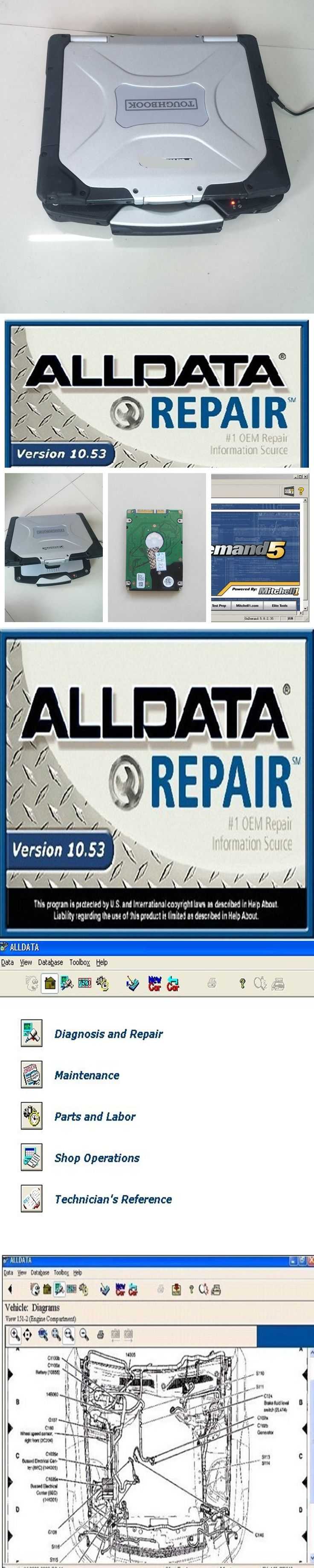 v10.53 alldata and mitchell software installed in diagnostic laptop pc cf-30 toughbook (4gb ram) work for all car repair