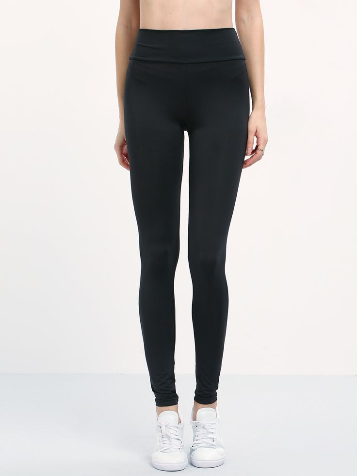 Shop Black Elastic Waist Slim Leggings online. SheIn offers Black Elastic Waist Slim Leggings & more to fit your fashionable needs.