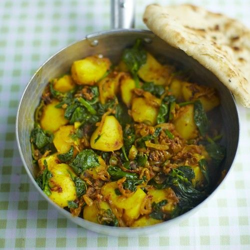 Saag aloo  is a North Indian dish made from spinach (saag) and potato (aloo) that has a uniquely delicious taste.