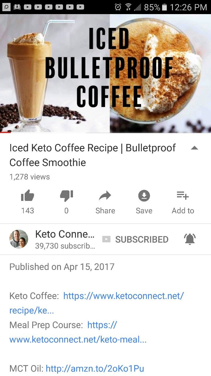 Iced Keto Coffee Recipe | Bulletproof Coffee Smoothie by Keto Connect on YouTube