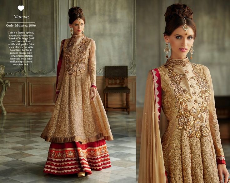 This is a festive special, elegant double layered 'Anarkali' in beige. Gold hued neck in floral motifs with golden 'pita' work all over the kalis. A contrast border in red and orange with floral ornamentation combined with beige chiffon dupatta for a complete look.