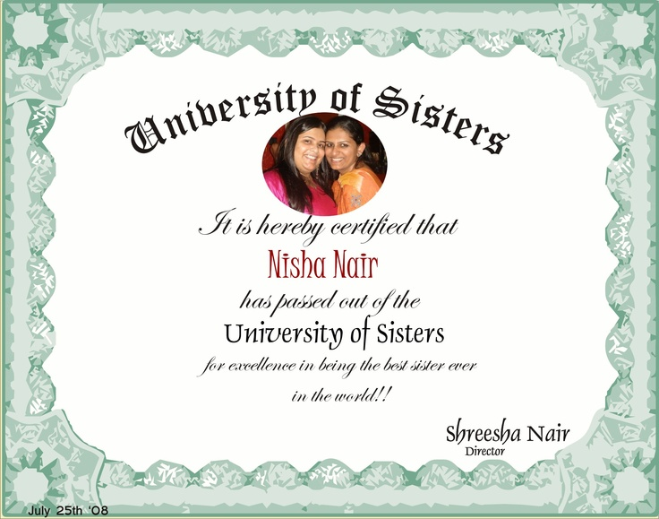 Customized certificate for your sister declaring her the ...
