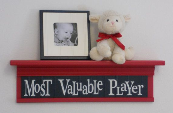 "Children's Sports Room Decor - Most Valuable Player Sign on 24"" RED Shelf NAVY Blue Nursery on Etsy, $45.00"