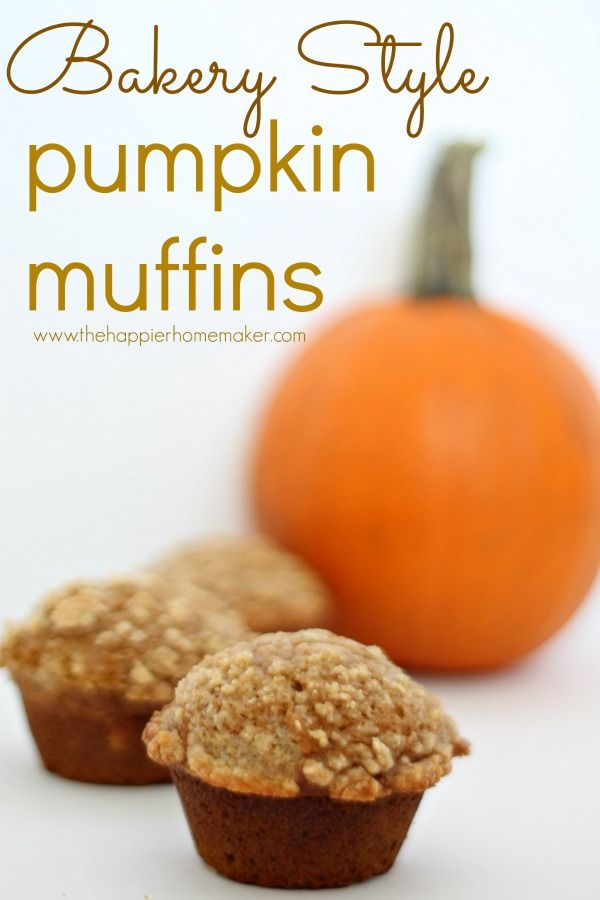 Bakery Style Pumpkin Muffin recipe with crumbly topping-these are SO good!!! One of my favorite autumn/fall desserts! My kids would love these for breakfast too!