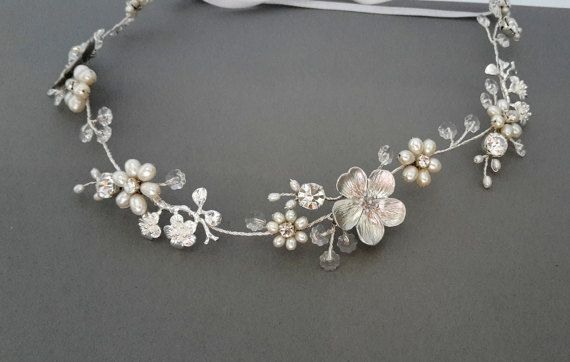 Bridal Hair Wreath crystal vine Wedding halo floral by ZTetyana