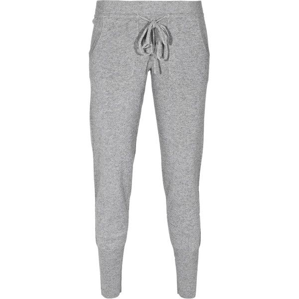 Rosa von Schmaus Soft Cozy Knit Grey Slim-fitted cashmere pants (195 CAD) ❤ liked on Polyvore featuring activewear, activewear pants, pants, sweatpants, bottoms, jeans, sweats, slim sweat pants, drawstring sweatpants and grey sweatpants