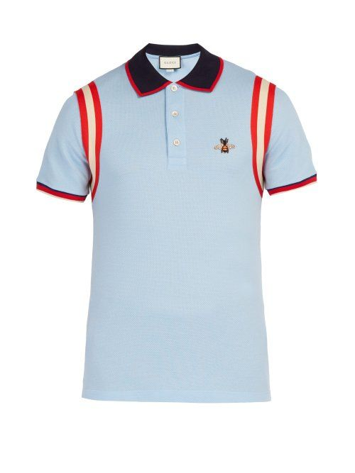 0e21ed83c643f5 GUCCI GUCCI - BEE EMBROIDERED COTTON PIQUÉ POLO SHIRT - MENS - LIGHT BLUE.   gucci  cloth
