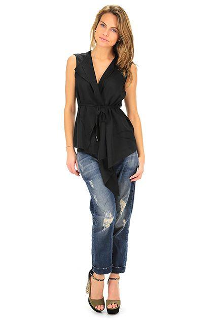 Kocca - Top - Abbigliamento - Top a gilet con allacciatura a cintura, taglio asimmetrico.La nostra modella indossa la taglia /EU XS. - 00016 - € 68.00