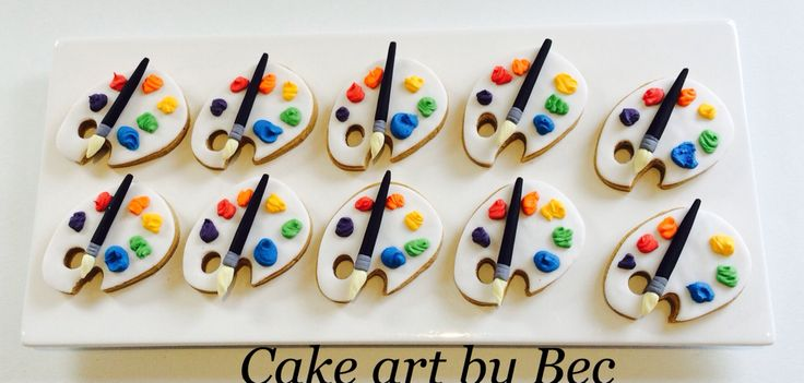 Paint pallet cookies by cake art by Bec