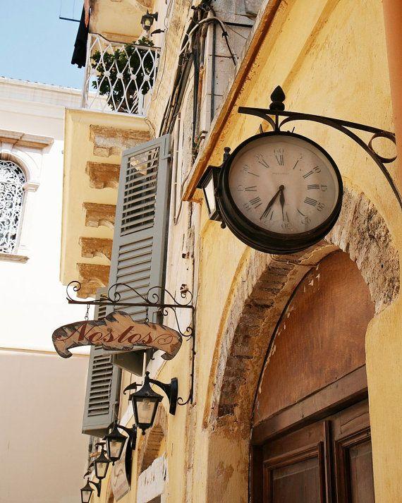 Greece Travel Photography - Clock Art - European - Butter Yellow Silver Blue - Rustic Wall Decor - Time - Corfu - Mediterranean Photo