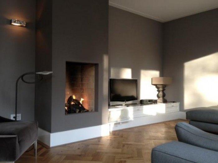 25 beste idee n over openhaard woonkamers op pinterest for Kast verven welke kleur