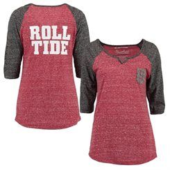 Alabama Crimson Tide Women's Baja 3/4 Raglan Sleeve T-Shirt - Red