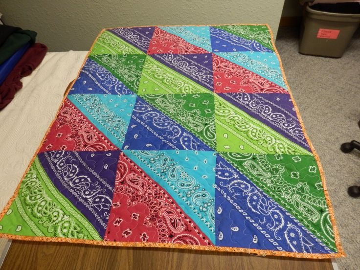 Bandana quilt I made for Adam's baby! Made from some of Adam's bandanas and at least one of Dad's.