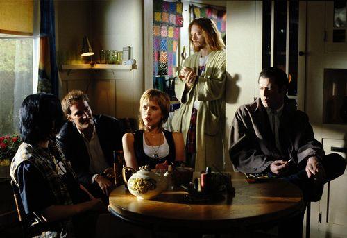 mrsalabamaworley:  Quentin Tarantino, Rosanna Arquette, Eric Stoltz, and John Travolta on-set of Pulp Fiction (1994)