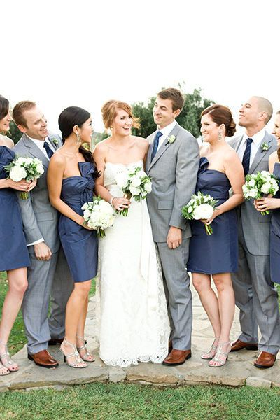 Navy and Grey. Love love love this color combo :): Grey Wedding, Grey Suits, Blue, Bridesmaid Dresses, Wedding Colors, Colors Schemes, Gray Suits, Brown Shoes, The Navy