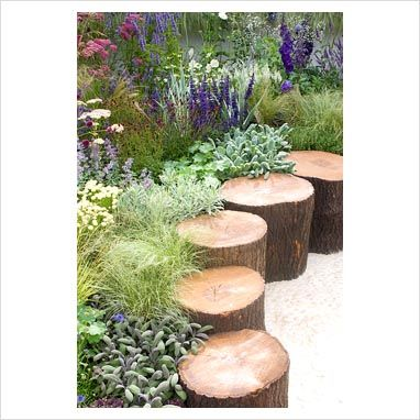 Tree stump border/seat/stepping stones