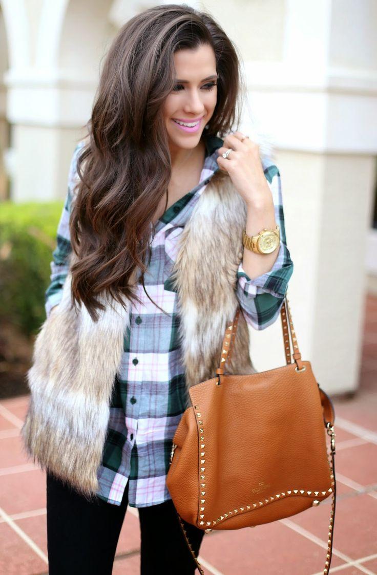 faux fur vest + plaid flannel