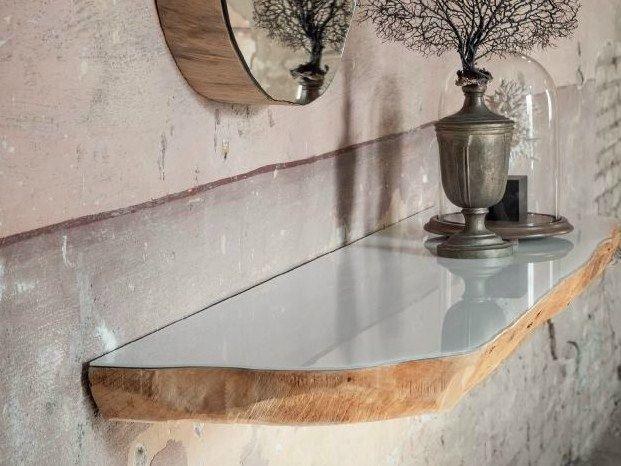 Mensola consolle eseguita da una sezione di tronco for Mensole legno naturale