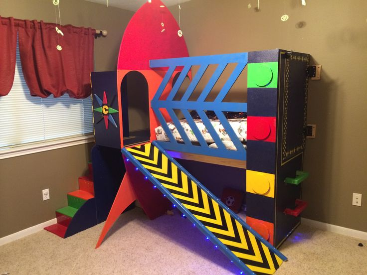 Rocket Ship Bed Boy Room Outer Space Bedroom Kid Beds
