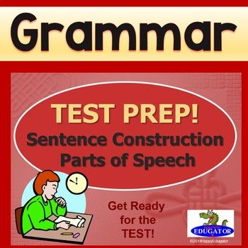 TEST PREP Parts of Speech and Sentence Construction Interactive PowerPoint. Interactive practice for standardized tests. Parts of speech in context and subjects and predicates practice questions. Help students practice sentence construction for testing of standards.