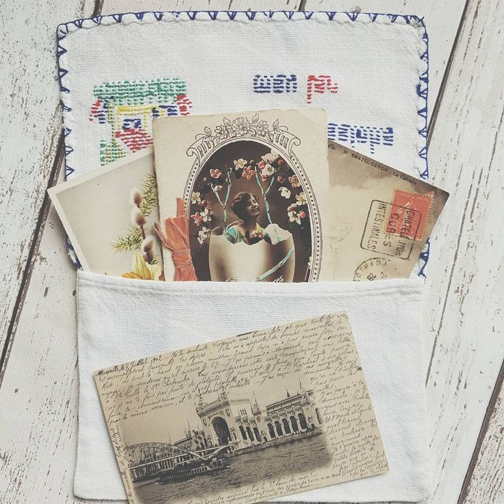 """🌿 Found this sweet hand made hanky  case on my travels in France. I believe it says """" My house, my home"""" in Portuguese ( please feel free to correct me if I'm wrong!) I thought I would use it to keep some of my ephemera treasures in 🌿 . . . .  #etsy #deanandco #ephemera #vintageephemera #journaling #junkjournal #travelersnotebook #midori #mtn #travelersnote #journal #plannercommunity #planneraddict #plannergeek #papercraft #paperlover #collage #vintagebooks #vscoers #vintagefinds…"""