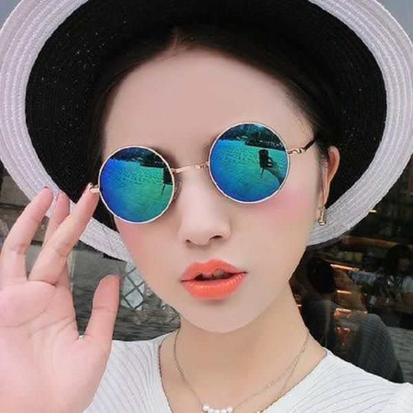 #FASHION #NEW New Fashion Round Sunglasses Men Women Metal WrapEyeglasses Round Shades Brand Designer Sun Glasses Mirror High Quality UV400