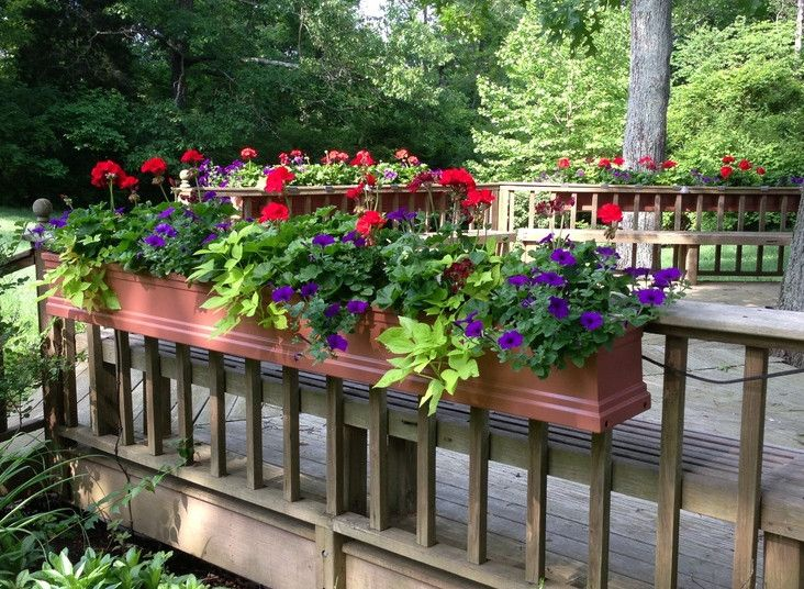 26 best images about deck decor railing planters on for Deck garden box designs