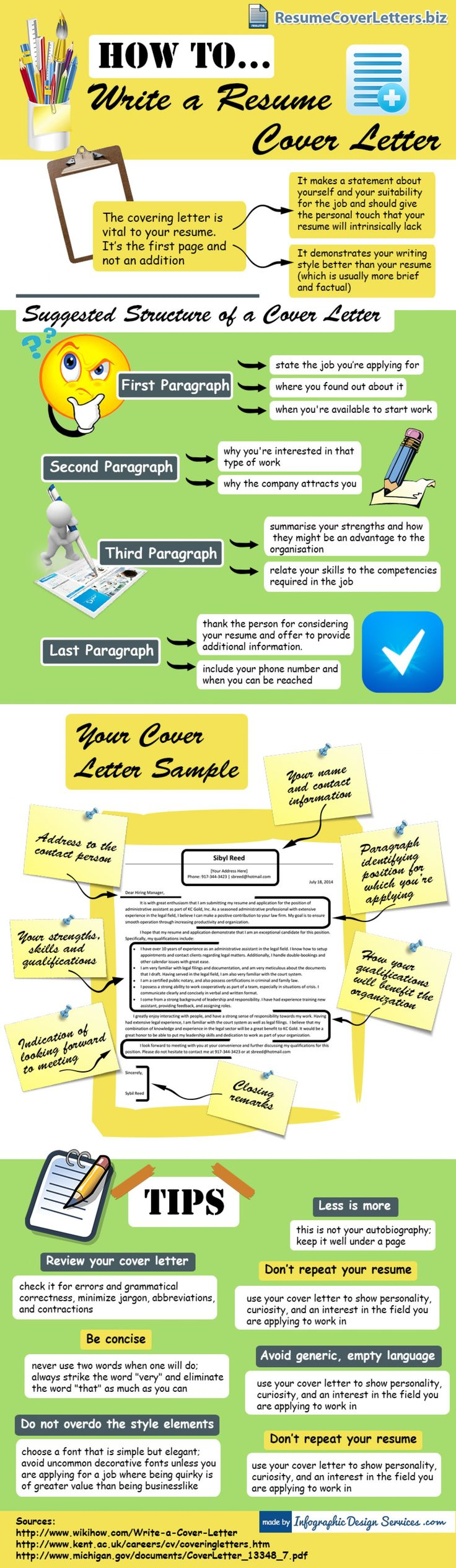 Resume Development Tips Infrographics on how to write a resume cover letter. Shows basics about resume cover letter: what is a cover letter, it's structure, ...