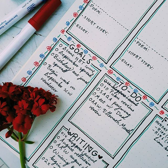 I want to start reading a poem, a short story, and an essay a day to expand my mind and improve my writing! Where better to track it then in my bullet journal? // #shecraftswords