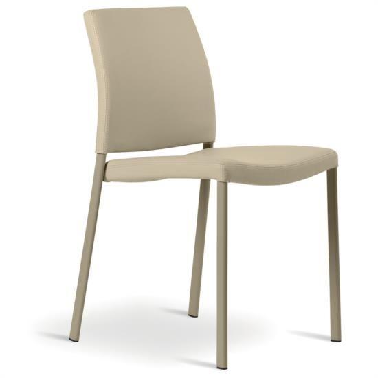 Sedia in metallo con seduta e schienale in ecopelle