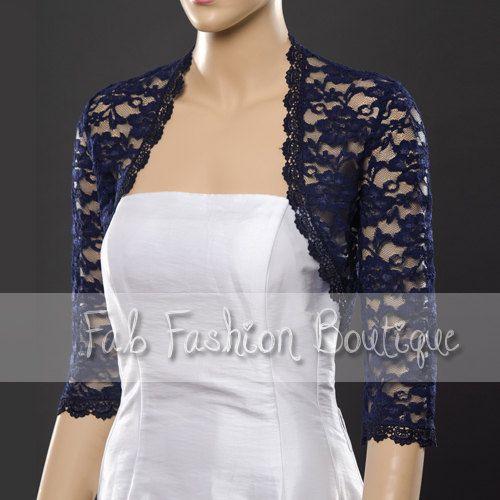 9827c08eff Navy blue 3 4 sleeved lace bolero jacket shrug Size S-XL