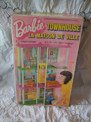 1974 Mattel BARBIE TOWNHOUSE in ORIGINAL BOX Retro Mod DISPLAY FOR YOUR DOLLS!