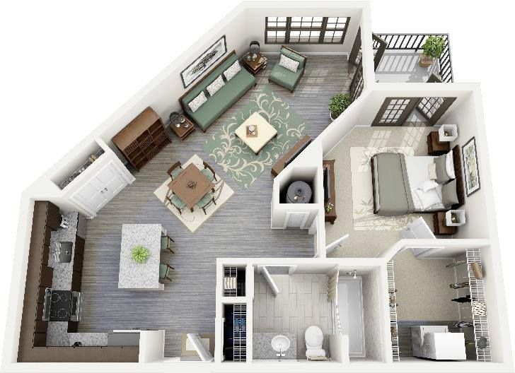 One Bedroom Plan Denah Rumah Rumah Denah Lantai