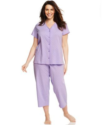 Charter Club Plus Size Short Sleeve Henley Top and Capri Pajama Pants Set