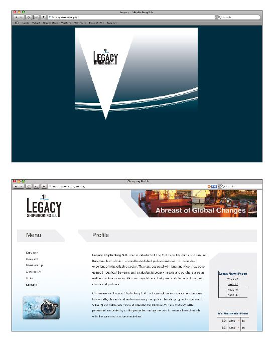 LEGACY SHIPBROCKERS Creation of corporate identity ▼ Creation of dynamic website