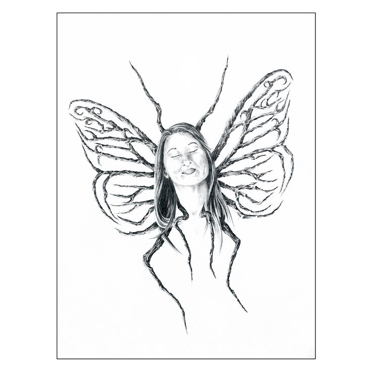 """Graphite 7"""" X 5"""", BUTTERFLY, In spite of everything, with her eyes closed ... she continues to dream.  PAPILLON, Malgré tout, les yeux fermés... elle continue de rêver. #drawing #artcollectors #graphite #art #artwork"""