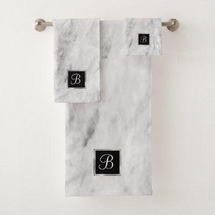 Marble Bath   Classic Monogram Chic Basic Simple   Bath Towel Set - bridal shower gifts ideas wedding bride