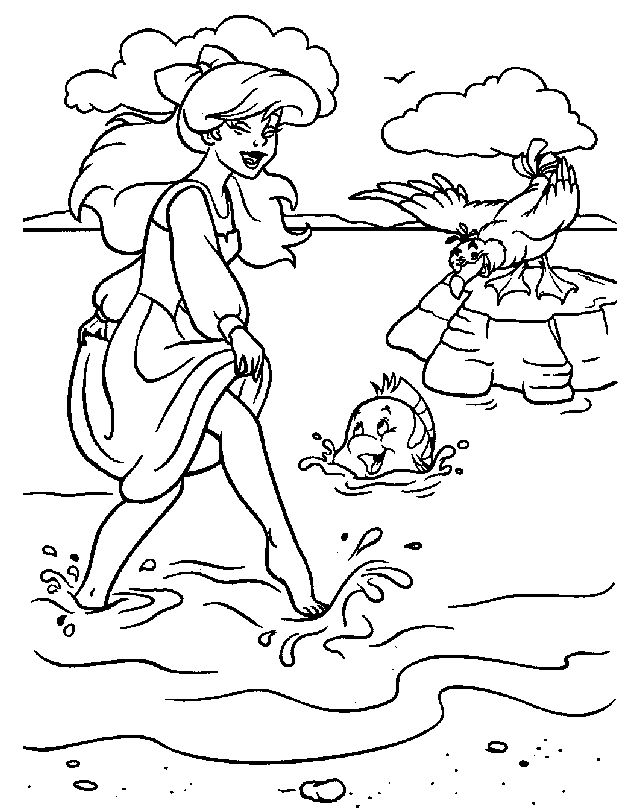 ariel walk on the beach coloring pages