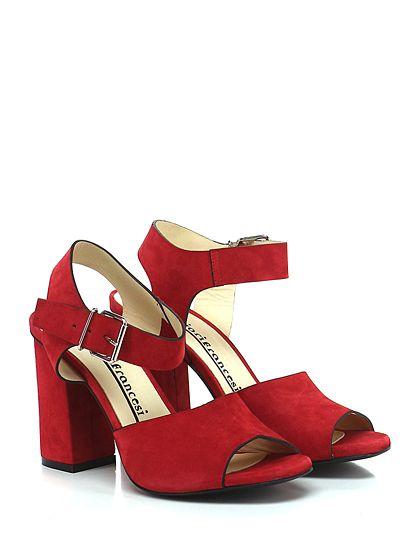 Fiori Francesi - Sandalo alto - Donna - Sandalo alto in camoscio con cinturino su collo piede e suola in cuoio. Tacco 105. - ROSSO - € 179.00