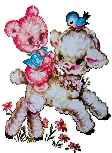 Vintage Bluebird Clip Art | floral retro vintage lamb, bear and bluebird 1960s decal ~ actually ...