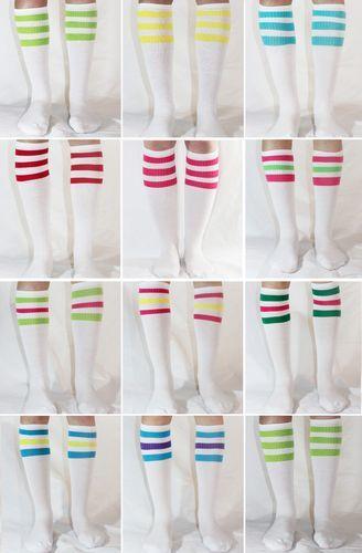 11 dif Colors White w Neon Knee High Stripe Tube Socks Old School USA | eBay