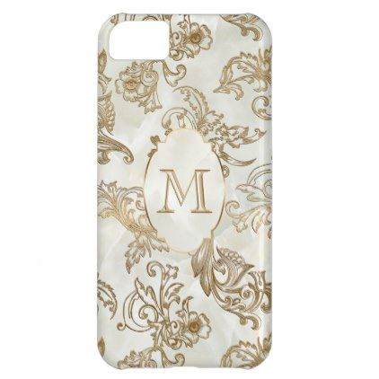 Elegant Gold Faux Marble Monogram Cover For iPhone 5C - marble gifts style stylish nature unique personalize