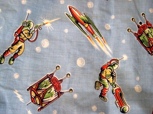 198 best art of vintage fabrics images on pinterest for Vintage space fabric