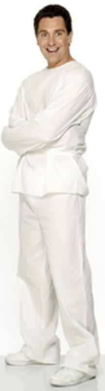 Lunatic Inmate Costume, White, with Top and Trousers