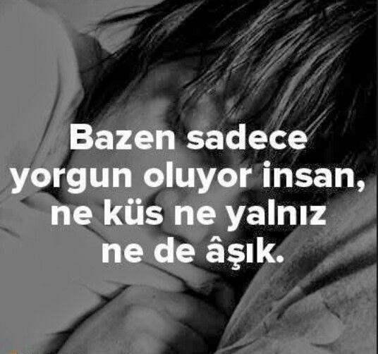 Bazen sadece yorgun oluyor insan, ne küs ne yalnız ne de aşık.  - Cemal Süreya