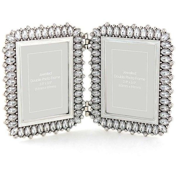 silver jewelled double photo frame 1500 inr liked on polyvore featuring home - Double Photo Frame