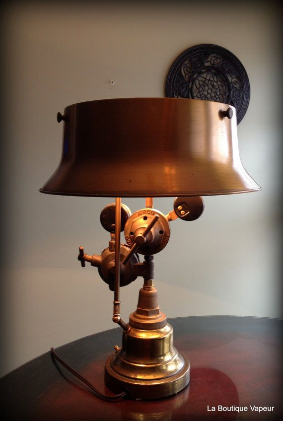 Handmade Steampunk industrial table lamp made by LaBoutiqueVapeur, $650.00